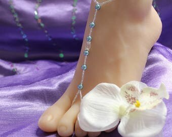 Teal Pearl Crystal Barefoot Sandals Foot Jewelry Beach Wedding Barefoot Sandals Pearl Anklet