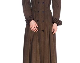 Victorian Sportswear Wool Coat Dress With Soutache Trim Size: XS