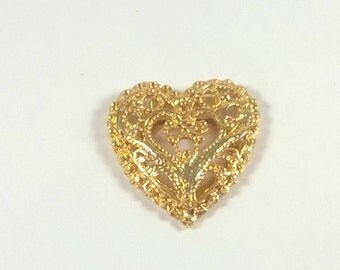 Vintage Scarf Clip - Gold  Heart Scarf Ring  - Pinless Filigree Brooch Slide - Costume Jewelry Brooch 1980s