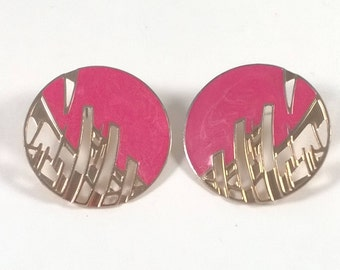 Vintage Large Gold Pink Earrings - Pierced Button Fashion Jewelry - 1980s
