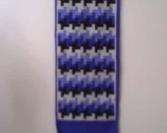 Vintage Long Light Scarf - Purple Tetris Scarves - Womens  Accessories 1970s