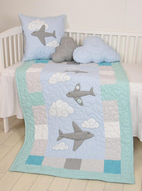 airplane baby  blanket, clouds crib quilt, fly away, modern nursery  decor, shower gift idea