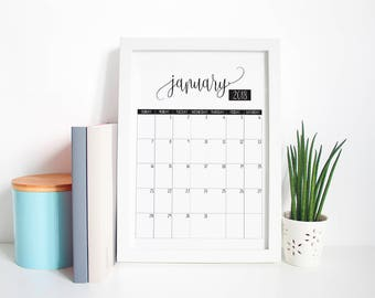 Printable Monthly Calendar 2018, Instant PDF Download A4 Printable Calendar, US Letter Printable Calendar, Printable Planner 2018 Calendar