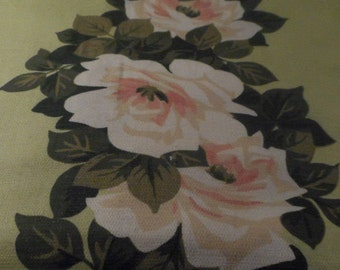 Vintage Mid Century Barkcloth Style Large Red and White Stripe Roses Texture Cotton Fabric, 5 yards