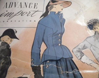 Vintage 1940's Advance 76 Import Adaptation Suit Jacket and Skirt Sewing Pattern Size 12 Bust 30