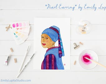 Art Print / Painting Invitation Stationary Card / Woman With A Pearl Earring Vermeer / Woman Portrait Art / Craft Project Print at Home DIY