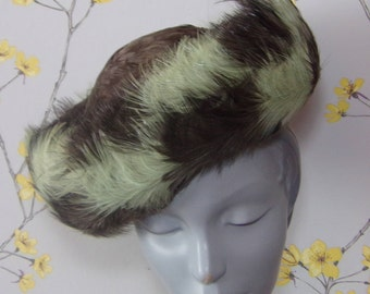 Vintage 1960s Feather Hat Formed Hat Chocolate and Pistachio Multicoloured Feathered Hat Feather Hat Breton Style Hat