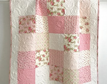 Modern Patchwork Baby Girl Quilt  Fleurs Collection Moda Shades of Pink and White