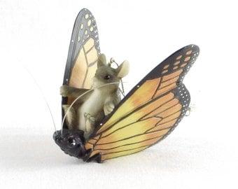 Field Mouse Riding a Monarch Butterfly Ornament - Unique Vintage Home Decor