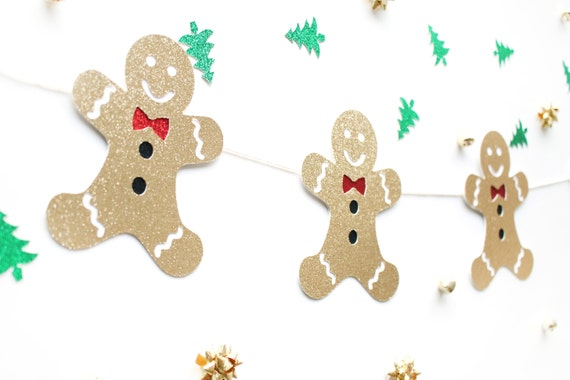 Gingerbread Man Garland - Holiday Decor. Dorm Decor. Christmas Decorations. Christmas Party Banner. Xmas Decor. Christmas Garland.