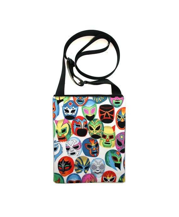 SALE! Luchadors, masks, Mexican wrestlers, cross body bag, flat bag