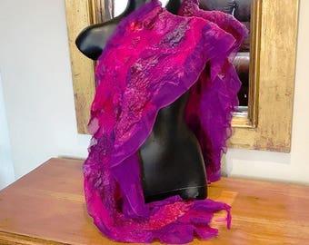 Purple Silk Chiffon Scarf Wrap