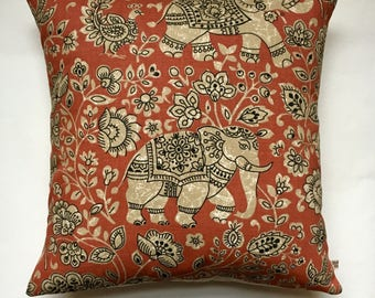 "Elephant cushion cover 16"" x 16"" Fryetts Indira fabric henna red cotton elephant print pillow cover"