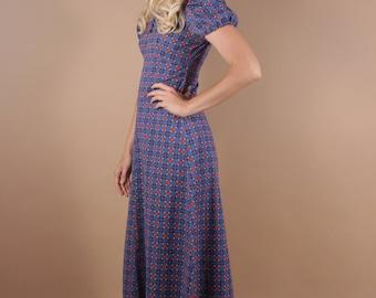 60s Op Art Graphic Empire Waist Maxi Dress | Blue Long Retro Print Boho Hippie Dress | XS