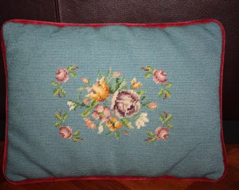 "Vintage Needlepoint Roses and Flowers Pillow Floral 1970s/Red Velvet Backed Needlepoint Floral Pillow/12"" x 16"""