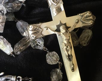 Beautiful Large Mother of Pearl Crucifix with Herkimer Diamonds