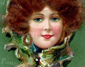 Pretty Girl in Seashell, Vintage Postcard Digital Image, Instant Download, Printable Mermaid