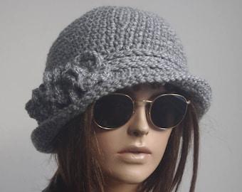 womens hats winter hat chemo hats  chemo headwear  brimmed winter hat gray mıx  brim hat bucket Cloche Women crochet hat Winter
