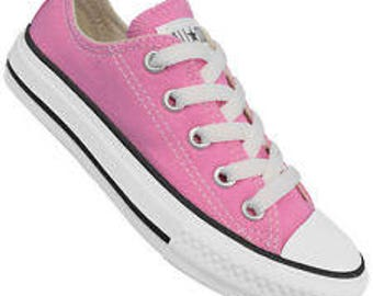 Kid Ice Pink Low Top Converse Toddler Youth Girls Children w/ Swarovski Crystal Rhinestone Jewels Bling Chuck Taylor All Star Sneakers Shoes