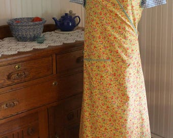 Gold and Green Calico 1940s Wrap Apron -Ready to Ship