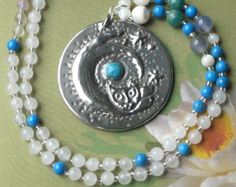 Silver Cat Turquoise Pendant Gemstone Necklace in Pewter