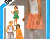 "Simplicity 6472 Tween Girl's Loose-Fitting Pullover Drop-Waist One Piece Dress Sewing Pattern Size 10 Chest 28.5""/ 72cm Vintage 1980's"