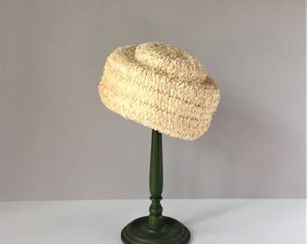 Pillbox Hat, Woven Raffia 1960s Women's Hat, Jackie O Formal Beige Hat, Wearable Vintage Hat, Wedding Madmen Pinup Hat, Stage Photo Prop