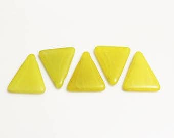Yellow Triangle Wedding Beads from Africa, Bohemian Trade Beads, Jewelry Supplies (AM21)