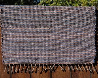 "Hand Woven Rag Rug - Little Blue Brown Striped Cotton 28"" x 28"""