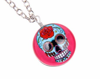 Sugar Skull Necklace, Skull Necklace, Day of the Dead, Double sided cabochon