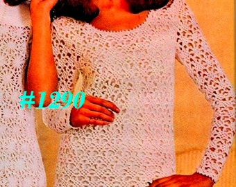 A BEST Vintage 1970s Picot Lace Evening or Wedding Dress #1290 PDF Digital Crochet Pattern