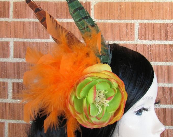Flower Hair Piece, Flower Headpiece, Flower Hair Clip, Feather Hair Clip, Feather Fascinator, Bohemian, Boho, Festival, EDC, Burning Man