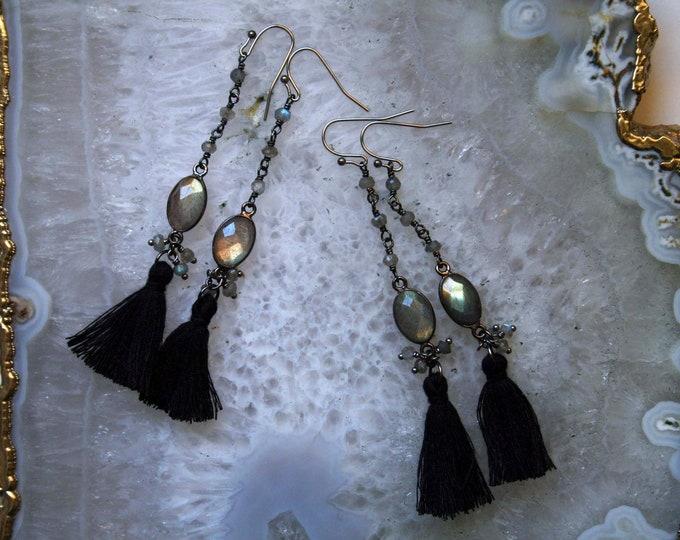 Gold Labradorite Tassel Earrings
