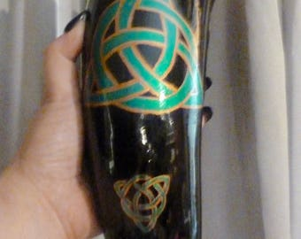 OOAK XL Viking Drinking Horn -- Triquetra Celtic Knot work holds 24 ounces  -- Witch Crafted