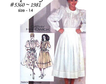 Simplicity 5360 Misses Blouse and Full Skirt with Transfer Detail ~ Cathy Hardwick ~ Size 14 - Vintage 1981