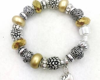 Golden Apple Charm Bracelet