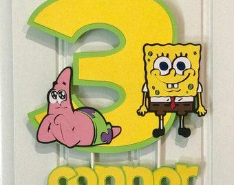 SpongeBob Cake topper, SpongeBob Squarepants Cake topper, Spongebob Decorations,  Spongebob birthday, SpongeBob party, Patrick cake topper
