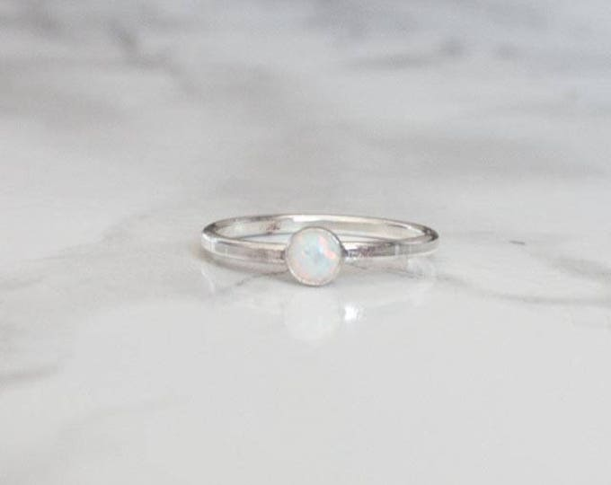 Light Blue Opal Gold Filled Ring - Round