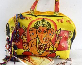 Shoulder bag d canvas fabric printed d pattern Indian GANESH rice bag