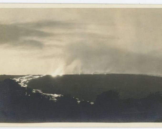 Volcano Eruption, Lava Flow, Big Island, Hawaii: Vintage Snapshot Photo (77595)