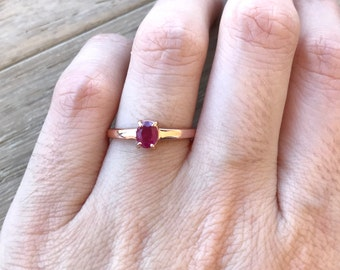 Danity Ruby Promise Ring- Rose Gold Promise Ring- Small Ruby Engagement Ring- July Birthstone Ring- Ruby Anniversary Ring- Simple Red Ring