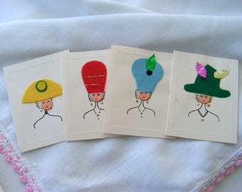 Whimsical High Fashion Vintage Notecards Set of 4 Ladies in Big Colorful Felt Hats