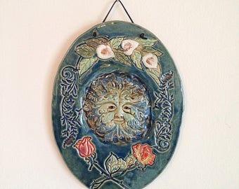 Vintage Handmade Studio Pottery Green Man Fairy Faerie Garden Wall Art