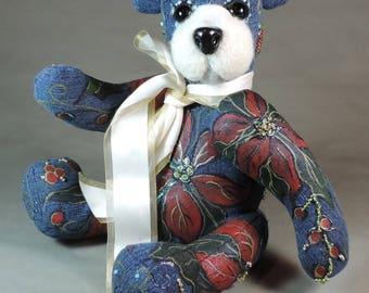 Painted Artist Bear, Poinsettia Bear, OOAK denim bear with needle felted face, collectible, handmade teddy, fully jointed