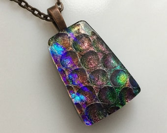Dichroic Glass Jewelry, Fused Glass Jewelry, Dichroic Copper Rainbow Necklace
