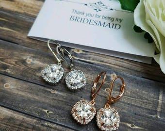 Bridesmaid Earrings, Bridal Earrings, Wedding Earrings, Square Earrings, Bridesmaid Jewelry, Bridal Jewelry, Bridesmaid Gift, Bridal Square