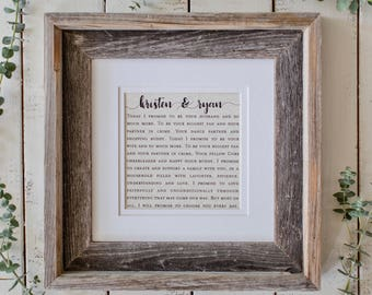 Wedding Vow Wall Art | Wedding Gift For Bride | Wife to Husband Wedding Gift | Gift For The Couple | Gift for Women