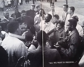 60s Civil Rights Negro Photos MLKing Photo Benjamin Brown Atlanta Protests 1961 Clark College Singing 'All we Want is Freedom'  6 pages