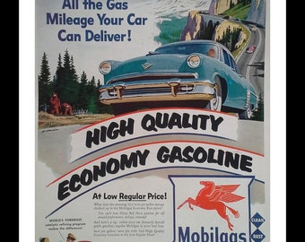 Mobilgas 1953 ad Red Pegasus Racing on Mountain Roads Illustrated Ad Retro Gas Station Man Cave Auto Oil Gas Epherema 13x10 Ready Frame