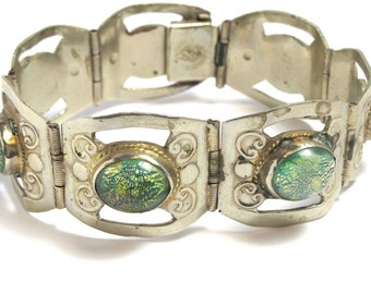 Sterling Silver Mexico Heavy Bracelet - Green Foil Glass Stones - Weight 35.6 Grams - Stamped 925 - Hecho en Mexico # 2153